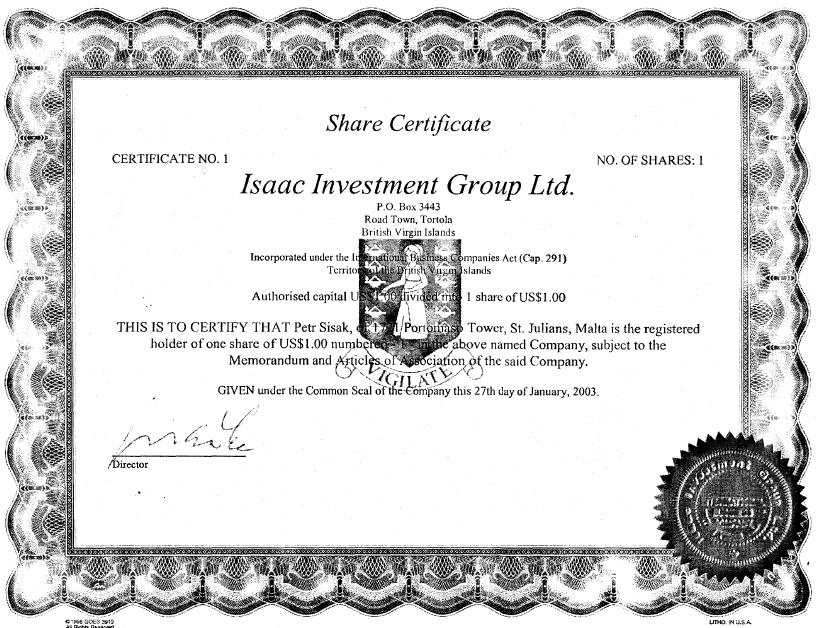 NYPROP-Sisak-BVI share certificate