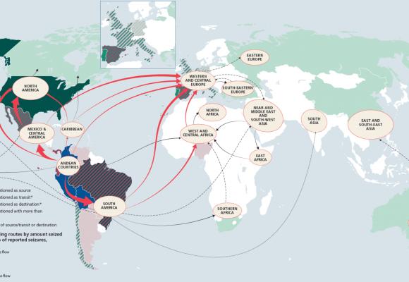 Tok celosvětového obchodu s kokainem, 2012–2016: UNODC